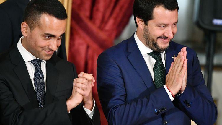 Le ministre de l'Intérieur et leader de la Ligue, Matteo Salvini (à droite), avec Luigi Di Maio, chef de file du Mouvement 5 étoiles et vice-Premier ministre (à gauche), lors de l'investiture du nouveau gouvernement italien mené par Giuseppe Conte, le 1er juin 2018 à Rome (Italie). (ALBERTO PIZZOLI / AFP)