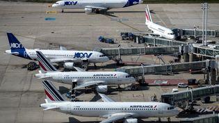 Des avions de la compagnie Air France sur le tarmac de l'aéroport de Roissy, près de Paris, le 27 juin 2019. (JOEL SAGET / AFP)