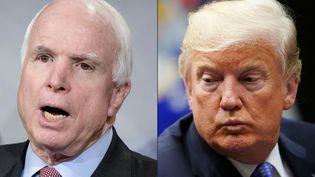 John McCain (à gauche) et Donald Trumpmultiplient les tacles depuis plusieurs années. (BRENDAN SMIALOWSKI / AFP)