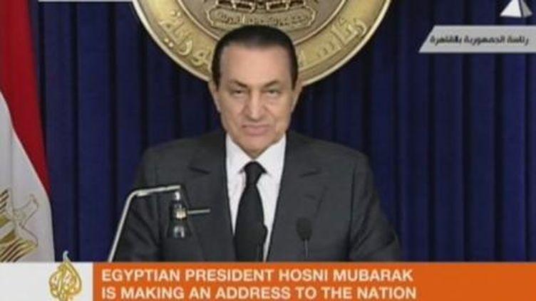 Hosni Moubarak lors de son discours à la nation, le 10 février 2011. (France Télévisions)