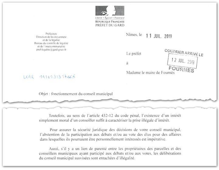 En juillet 2019, la préfecture du Gard écrit à la maire de Fournès et alerte sur le risque de prise illégale d'intérêts pour certains conseillers municipaux. (CELLULE INVESTIGATION DE RADIO FRANCE)