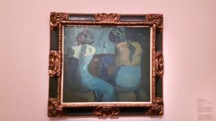 """""""Les Pierreuses au bar"""" Pablo Picasso (1902), tableau exposé au musée d'Orsay jusqu'au6 janvier 2019. (ANNE CHEPEAU / RADIO FRANCE © Hiroshima Museum of Art © Succession Picasso 2018)"""