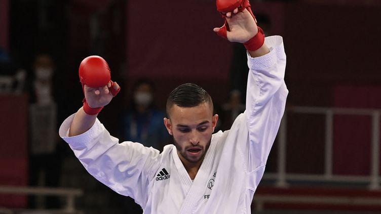 Steven Da Costa a été sacré champion olympique de karaté, le 5 août 2021. (ALEXANDER NEMENOV / AFP)