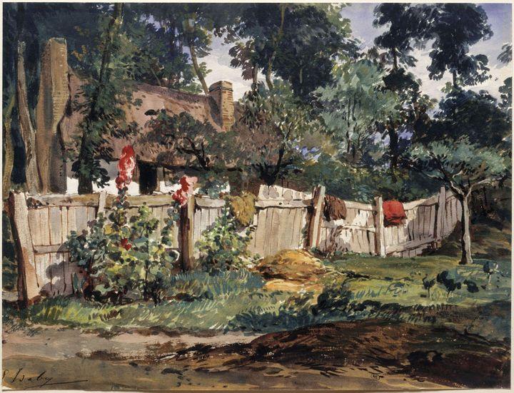 Eugène Isabey, Jardin à Varengeville, Paris, Musée du Louvre  (RMN-GP (Musée du Louvre) / Gérard Blot)