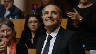 L'indépendantiste Jean-Guy Talamoni, élu à la présidence de l'Assemblée de Corse, le 17 décembre 2015. (CITIZENSIDE / MARCU-ANTONE COSTA / AFP)