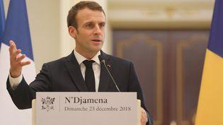 Emmanuel Macron, le 23 décembre 2018 àN'Djamena, au Tchad. (LUDOVIC MARIN / AFP)