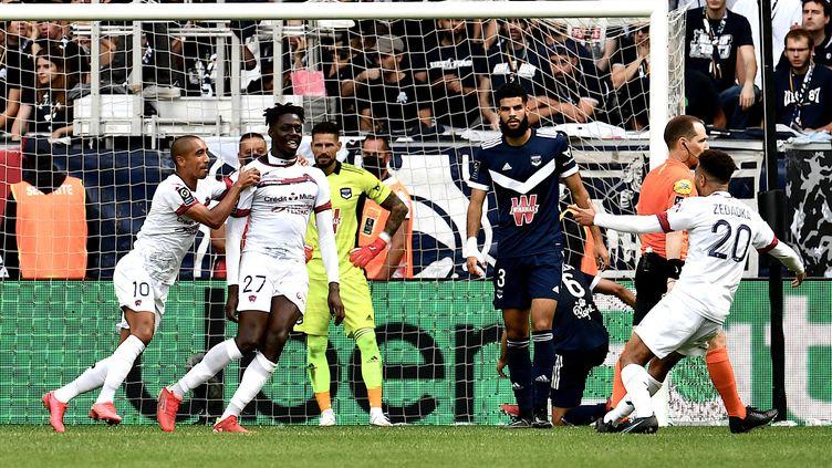 Mohamed Bayo, le buteur clermontois face à Bordeaux lors de la première journée de Ligue 1, le 8 août 2021. (PHILIPPE LOPEZ / AFP)