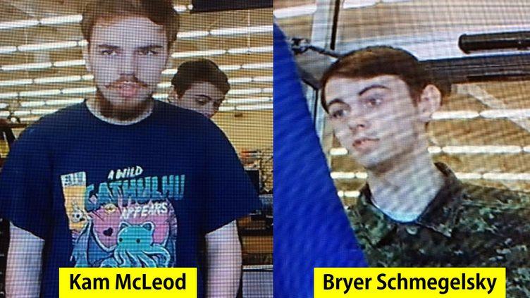 Kam McLeod, 19 ans et Bryer Schmegelsky 18 ans sont suspectés d'un triple meurtre au Canada et activement recherchés par la police depuis le 19 juillet 2019. (ALBERTA RCMP / AFP)