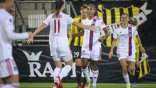 Catarina Macario célèbre son but lors de la rencontre de Ligue des champions féminin opposant l'Olympique lyonnais au BK Hacken, le 5 octobre 2021. (TT News Agency via AFP)