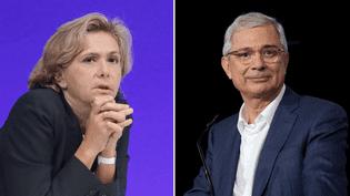 La tête de liste LR en Ile-de-France, Valérie Pécresse, et la tête de liste PS, Claude Bartolone. (MAXPPP)