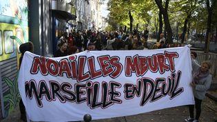 Un balcon s'est effondré samedi 10 novembre 2018 sur le cortège hommage au huit victimes des effondrements d'immeubles lundi 5 novembre à Marseille. (CHRISTOPHE SIMON/AFP)