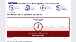 """Le ministère de l'Intérieur à mis en ligne les attestations de déplacement pour le """"couvre-feu"""", vendredi 16 octobre 2020. (MINISTERE DE L'INTERIEUR)"""