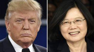 La présidente taïwanaiseTsai Ing-wen et le président américain élu Donald Trump. (AFP)