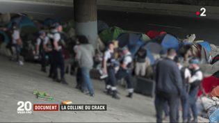 """Une intervention policière au niveau de """"la colline du crack"""", un terrain vague occupé par les toxicomanes dans le nord-est de Paris. (FRANCE 2)"""
