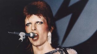 "David Bowie dans le documentaire ""Ziggy Stardust and the Spiders From Mars"" de D.A. Pennebaker, filmé lors d'un concert à Londres en juillet 1973.  (Nana Productions / SIPA)"