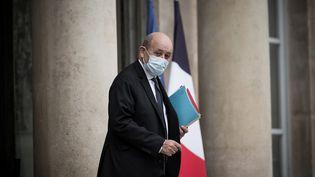 Le ministredes Affaires étrangères Jean-Yves Le Drian, à l'Elysée (Paris), le 10 novembre 2020. (ARTHUR NICHOLAS ORCHARD / HANS LUCAS / AFP)