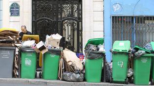 Des poubelles s'amoncellent pendant la grève des éboueurs à Paris, le 7 octobre 2015. (  MAXPPP)