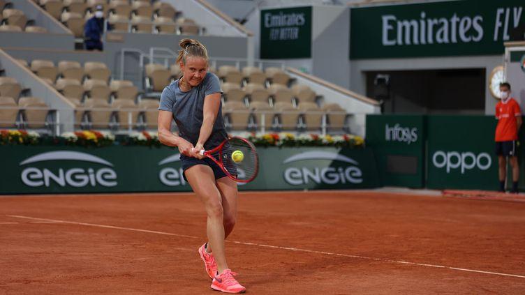 Fiona Ferro lors de son deuxième tour à Roland-Garros
