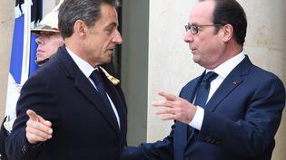 L'ancien président Nicolas Sarkozy et l'actuel chef de l'Etat François Hollande, le 11 janvier 2015 à l'Elysée à Paris. (DOMINIQUE FAGET / AFP)