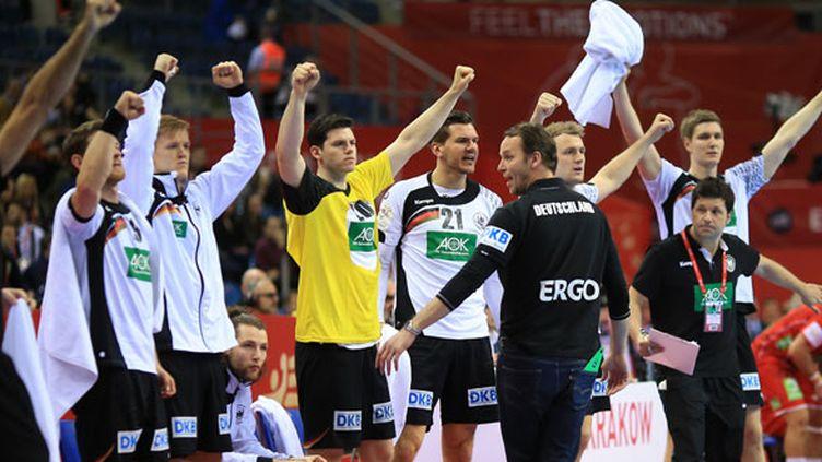 La joie des remplaçants allemands durant la demi-finale de l'Euro contre la Norvège