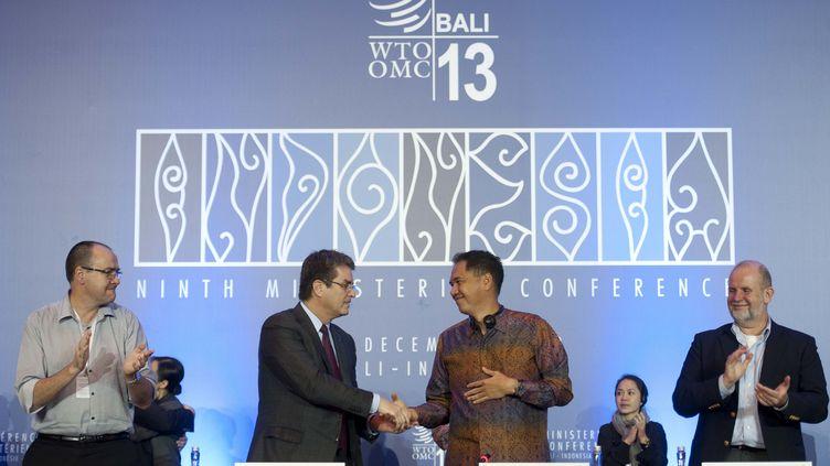 Le directeur général de l'OMC, Roberto Azevedo, salue le ministre indonésien du Commerce, Gita Wirjawan, à Bali, le 7 décembre 2013. (LUI SIU WAI / XINHUA / AFP)
