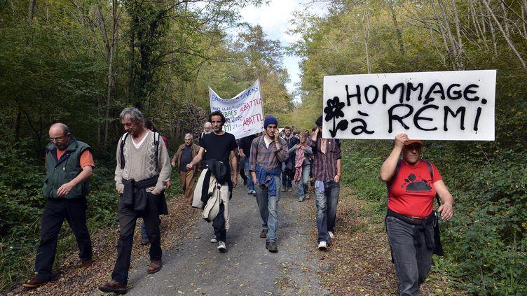 Des manifestants marchent en honneur de Rémi Fraisse à Gaillac (Tarn), le 25 octobre 2015. (REMY GABALDA / AFP)