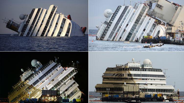 """Le """"Costa Concordia"""" du 14 au 17 septembre près de l'île italienne de Giglio. (FILIPPO MONTEFORTE / AFP)"""