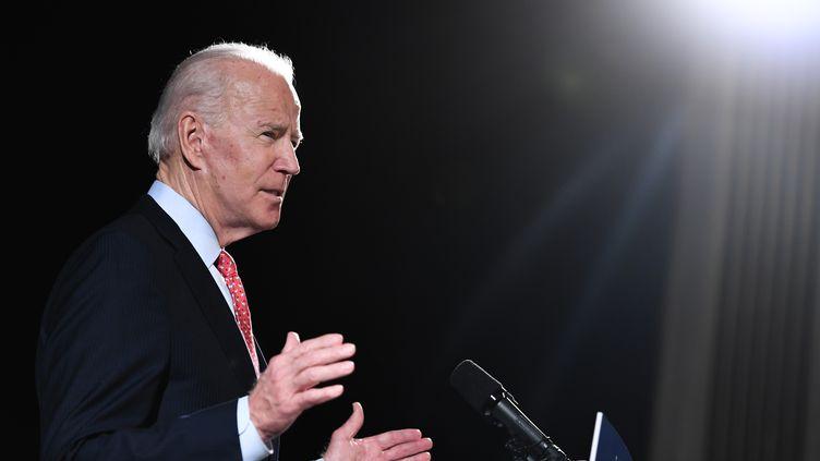 Le candidat démocrate à la présidentielle américaine, Joe Biden, le 12 mars 2020 à Wilmington (Etats-Unis). (SAUL LOEB / AFP)