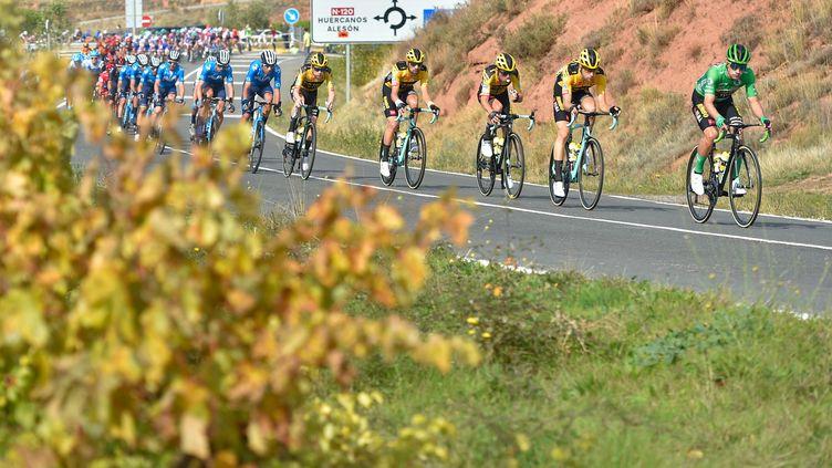 Primoz Roglic avec son maillot vert devant la meute de ses coéquipiers de la Jumbo-Visma sur la Vuelta 2020 (ANDER GILLENEA / AFP)