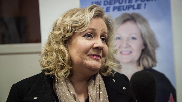 Sophie Montel, candidate du FNdans la législative partielle du Doubs, le 8 février 2015, àAllenjoie. (SAMUEL COULON / CITIZENSIDE / AFP)