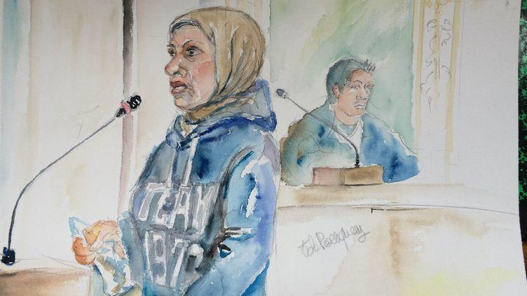 Myriam Badaoui lors du procès de Daniel Legrand devant la cour d'assises des mineurs de Rennes, le mercredi 27 mai. (ELISABETH DE POURQUERY / FRANCETV INFO)