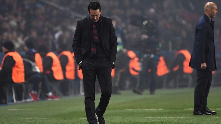 L'entraîneur du PSG Unai Emery lors de la défaite face au Real Madrid, le 6 mars 2018, à Paris. (PIERRE-PHILIPPE MARCOU / AFP)