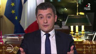 Le ministre de l'Action et des Comptes publics Gérald Darmanin, lors de son intervention au journal de 20 heures de France 2, le 19 mars 2020. (FRANCE 2)