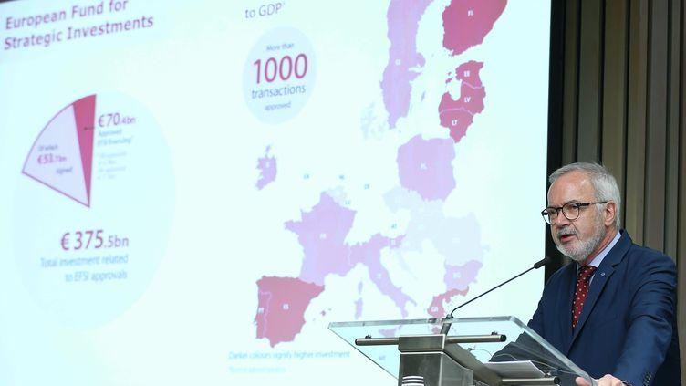 Werner Hoyer, président de la Banque européenne d'investissement, le 29 janvier 2019 à Bruxelles. (DURSUN AYDEMIR / ANADOLU AGENCY / AFP)