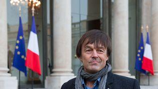 Nicolas Hulot sort de l'Elysée, le 6 décembre 2012, après une rencontre avec le président de la République François Hollande. (BERTRAND LANGLOIS / AFP)