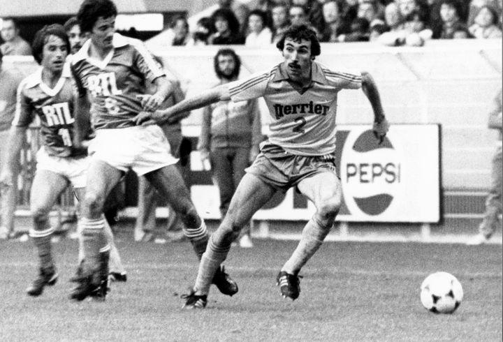 Maxime Bossis (FC Nantes) lors de la finale de la Coupe de France 1979 remportée par les Canaris contre l'AJ Auxerre (4-1 ap)