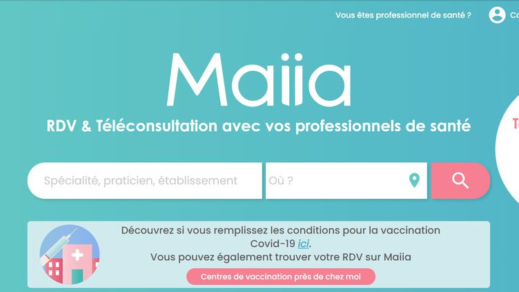 Capture d'écran de la plateforme de prise de rendez-vous Maiia. (FRANCEINFO)
