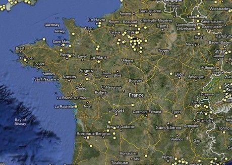 Google map des tournage de films en 2011  (DR)