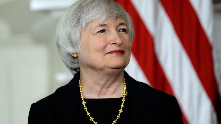Janet Yellen lors d'un discours à la Maison Blanche, à Washington, du président Barack Obama, pour sa nomination à la tête de la banque centrale américaine, le 9 octobre 2013. (JEWEL SAMAD / AFP)