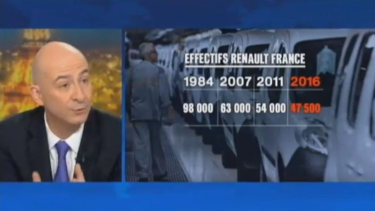 François Lenglet livre son analyse sur la situation de Renault,le 16 janvier 2013 sur le plateau du 20 heures de France 2. (FRANCETV INFO)