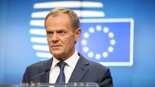 Le président du Conseil européen, Donald Tusk, lors d'une conférence de presse à Bruxelles, le 18 octobre 2019. (DOMINIKA ZARZYCKA / NURPHOTO / AFP)