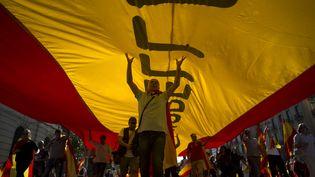 Manifestation pour l'unité de l'Espagne, dimanche 8 octobre. (JORGE GUERRERO / AFP)