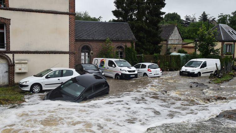 Le village deBreteuil (Eure) envahi par les eaux, le 5 juin 2018. (JEAN-FRANCOIS MONIER / AFP)