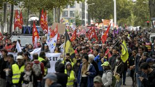 Manifestation intersyndicale à Lyon mardi 5 octobre 2021. (MAXIME JEGAT / MAXPPP)