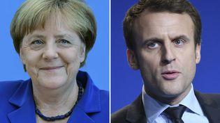 Angela Merkel en juillet 2016 à Berlin et Emmanuel Macron en mars 2017 à Caen. (TOBIAS SCHWARZ / AFP)