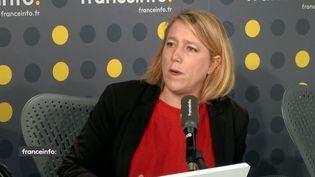 Danièle Simonnet, conseillère de Paris et oratrice nationale de La France Insoumise, était l'invitée de franceinfo mardi 11 décembre. (FRANCEINFO)