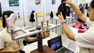 Des taïwanaises ont mis au point un séchoir spécial pour chaussettes. (GREGORY YETCHMENIZA / LE DAUPHINE / MAXPPP)