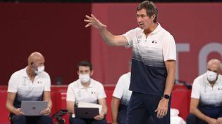 L'entraîneur de l'équipe de France Laurent Tillie lors du quart de finale face à la Pologne, mardi 3 août. (CROSNIER JULIEN / KMSP / AFP)