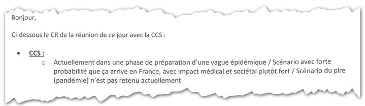Extrait du compte-rendu de la réunion du 14 février 2020 du centre de crise sanitaire. (CELLULE INVESTIGATION DE RADIOFRANCE)