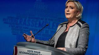 La présidente du Rassemblement national (RN, ex-FN) lors du congrès du parti, le 1er juin 2018 près de Lyon (Rhône). (NICOLAS LIPONNE / NURPHOTO / AFP)